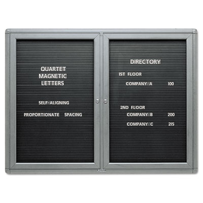 2-Door Enclosed Magnetic Directory, 48 x 36, Black, Gray Frame