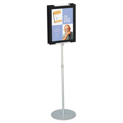 "Adjustable Sign Stand, Metal, 44"" to 73"" High, Silver"