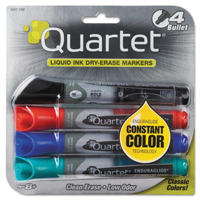 EnduraGlide Dry Erase Markers, Bullet Tip, Assorted Colors, 4/Se