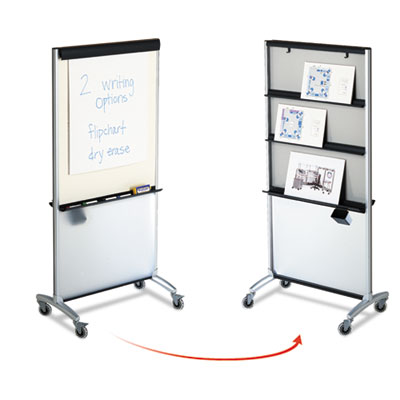 3-in-1 Presentation Easel, Dry-Erase, 33 1/2 x 39 1/2, Silver Fr