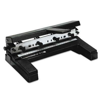 "40-Sheet Two- to Four-Hole Adjustable Punch, 9/32"" Holes, Black"