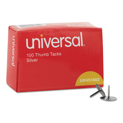 "Thumb Tacks, Steel, Silver, 5/16"", 100/Pack"