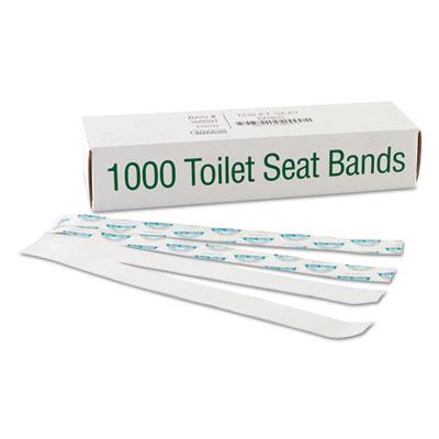"Sani/Shield Printed Toilet Seat Band, Paper, Blue/White, 16"" Wid"