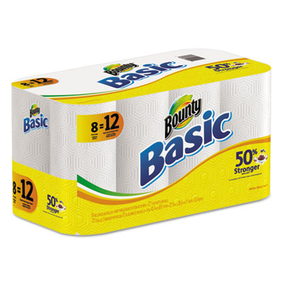 Basic Paper Towels,11 x 10 2/5, White, 72/Roll, 8 Roll/Carton