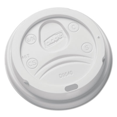 Sip-Through Dome Hot Drink Lids for 10 oz Cups, White, 100/Pack,