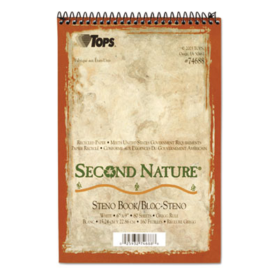 Second Nature Spiral Reporter/Steno Notebook, Gregg Rule, 6 x 9,