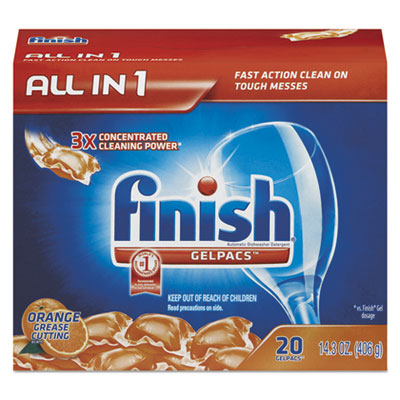 Dish Detergent Gelpacs, Orange Scent, Box of 20 Gelpacs