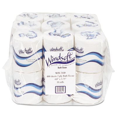 Embossed Bath Tissue, 2-Ply, 400 Sheets/Roll, 18 Rolls/Carton