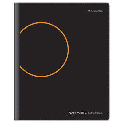 """Monthly Planner And Notebook, 9-1/2"""" x 11"""", Black, 2015-2016"""