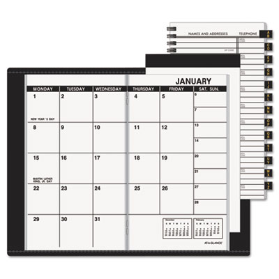 Recycled Monthly Planner, Unruled, 3-1/2 x 6-1/8, Black, 2015-20