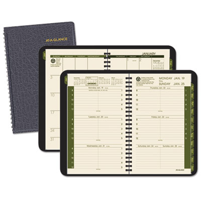 "Recycled Weekly/Monthly Appointment Book, Black, 4 7/8"" x 8"", 20"