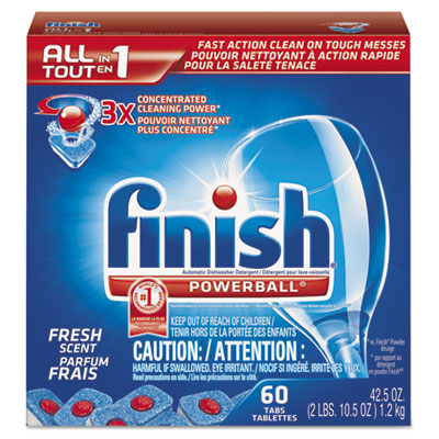 Powerball Dishwasher Tabs, Fresh Scent, 60 Tabs/Box, 4 Boxes/Car