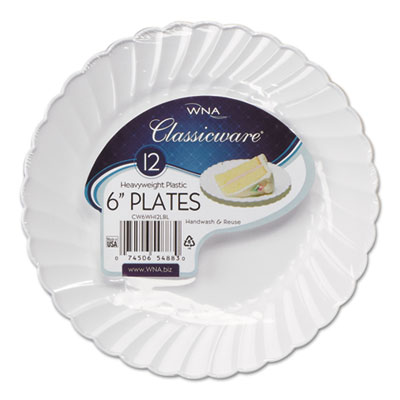 "Classicware Plastic Dinnerware Plates, 6"" Dia, White, 12/Bag, 18"