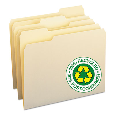 100% Recycled File Folders, 1/3 Cut, One-Ply Top Tab, Letter, Manila, 100/Box<br />91-SMD-10339