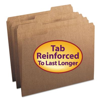 Kraft File Folders, 1/3 Cut, Reinforced Top Tab, Letter, Kraft, 100/Box<br />91-SMD-10734