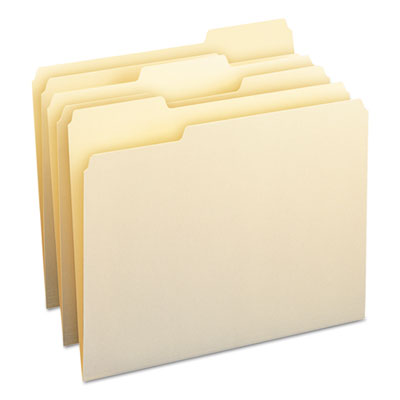 File Folders, 1/3 Cut Assorted, One-Ply Top Tab, Letter, Manila, 100/Box<br />91-SMD-10330