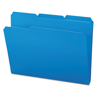Waterproof Poly File Folders, 1/3 Cut Top Tab, Letter, Blue, 24/Box<br />91-SMD-10503