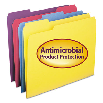 Antimicrobial Folders, 1/3 Cut Top Tab, Letter, Assorted Colors,