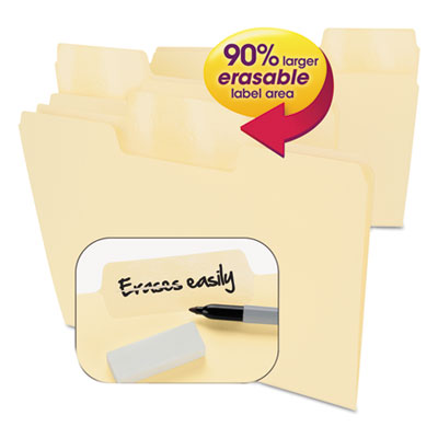Erasable SuperTab File Folders, Letter, Manila, 24/Set<br />91-SMD-10380