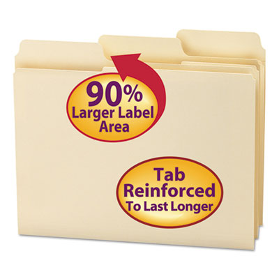 SuperTab Guide Height Reinforced Folders, Top Tab, Letter, Manila, 100/Box<br />91-SMD-10395