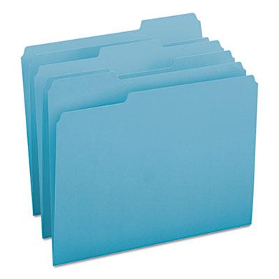 File Folders, 1/3 Cut Top Tab, Letter, Teal, 100/Box