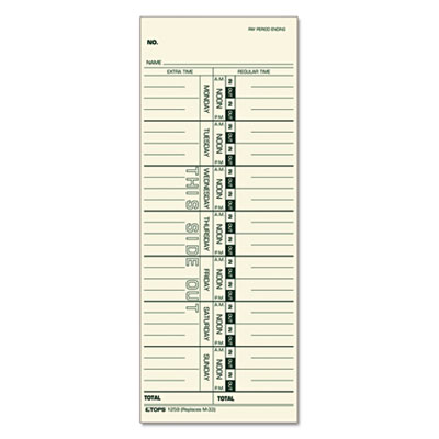 Time Card for Acroprint, IBM, Lathem and Simplex, Weekly, 3 1/2