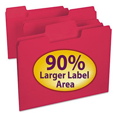 SuperTab Colored File Folders, 1/3 Cut, Letter, Red, 100/Box<br />91-SMD-11983