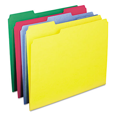 WaterShed/CutLess File Folders, 1/3 Cut Top Tab, Letter, Assorted, 100/Box<br />91-SMD-11951