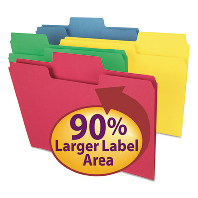 SuperTab Colored File Folders, 1/3 Cut, Letter, Assorted, 100/Box<br />91-SMD-11987
