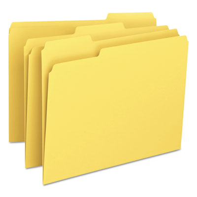 File Folders, 1/3 Cut Top Tab, Letter, Yellow, 100/Box<br />91-SMD-12943
