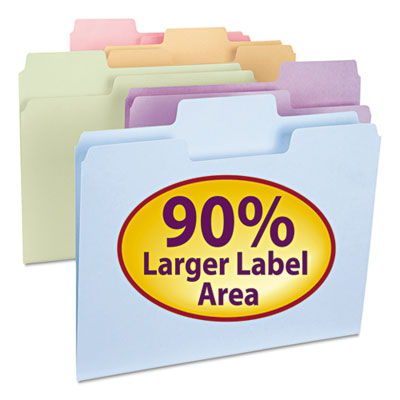 SuperTab File Folders, 1/3 Cut Top Tab, Letter, Assorted Colors, 100/Box<br />91-SMD-11961