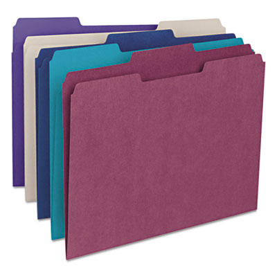 File Folders, 1/3 Cut Top Tab, Letter, Deep Assorted Colors, 100/Box<br />91-SMD-11948