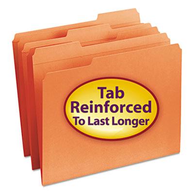 File Folders, 1/3 Cut, Reinforced Top Tab, Letter, Orange, 100/Box<br />91-SMD-12534