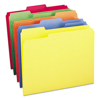 File Folders, 1/3 Cut Top Tab, Letter, Bright Assorted Colors, 100/Box<br />91-SMD-11943