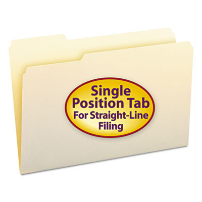 File Folders, 1/3 Cut First Position, One-Ply Top Tab, Legal, Manila, 100/Box<br />91-SMD-15331