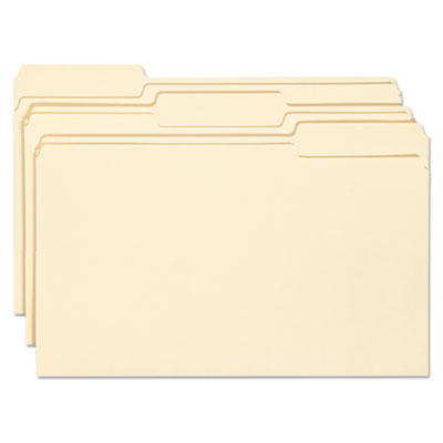 Antimicrobial File Folders, 1/3 Cut Top Tab, Legal, Manila, 100/
