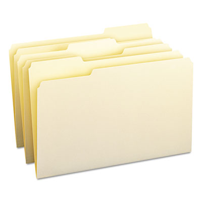 1/3 Cut Assorted Position File Folders, One-Ply Top Tab, Legal, Manila, 100/Box<br />91-SMD-15330