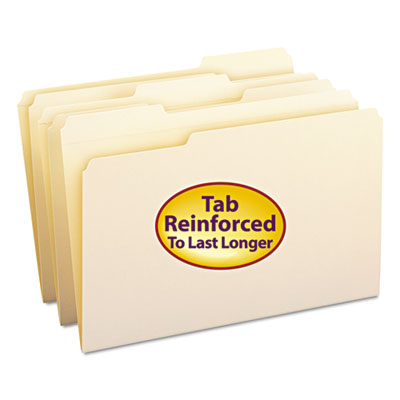 File Folders, 1/3 Cut Assorted, Reinforced Top Tab, Legal, Manila, 100/Box<br />91-SMD-15334