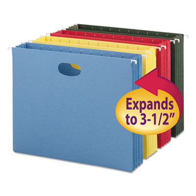 "3"" Capacity Hanging File Pockets, Letter, Assorted Colors, 4/Pac"