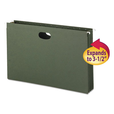 3 1/2 Inch Hanging File Pockets with Sides, Legal, Standard Gree