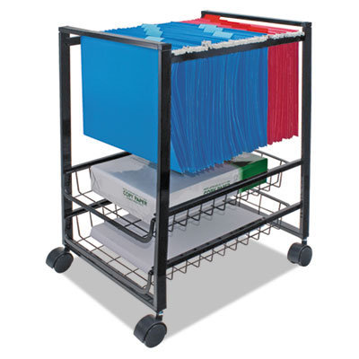 Mobile File Cart w/Sliding Baskets, 15w x 12-7/8d x 20-7/8h, Bla