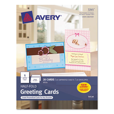 Half-Fold Greeting Cards, Inkjet, 5-1/2 x 8-1/2, Matte White, 20