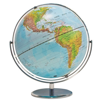 Physical and Political 12-Inch Globe, Silver Metal Desktop Base