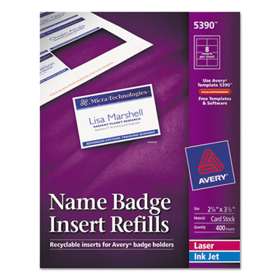 Additional White Laser/Inkjet Insert for Badge Holder,2 1/4 x 3