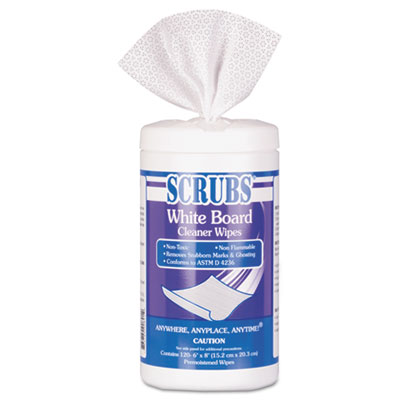White Board Cleaner Wipes, Cloth, 8 x 6, White, 120/Canister
