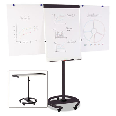 360 Multi-Use Mobile Magnetic Dry Erase Easel, 27 x 41, Black Fr