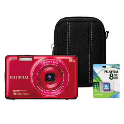 FinePix JX660 Digital Camera Bundle, 16MP, 5x Optical Zoom, Red