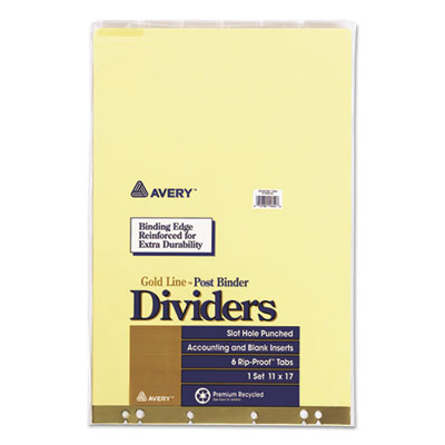 Post Binder Dividers, 6-Tab w/Inserts, 11 x 17, Clear, 6/Set