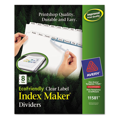 100% Recycled Index Maker Dividers, White 8-Tab, 11 x 8-1/2, 5 S