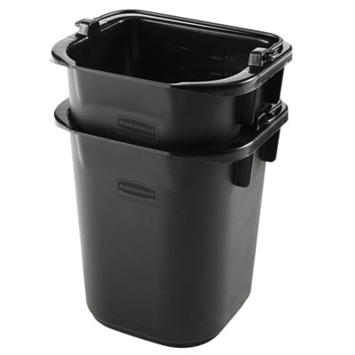 Executive Heavy Duty Pail, Black, Plastic, 5 Quarts, 9.3Wx7.5Dx8